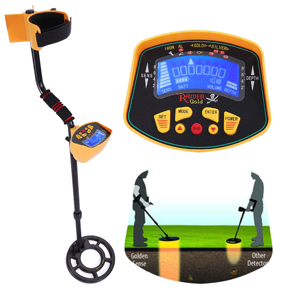 MD-3010II Metal Detector Gold Digger Deep Sensitive Light Hunter LCD Display