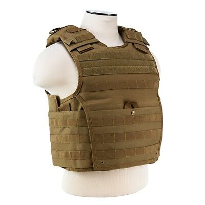 NcStar VISM TAN Tactical MOLLE Operator Plate Carrier Body Armor Chest Rig SMALL - Chest Plate
