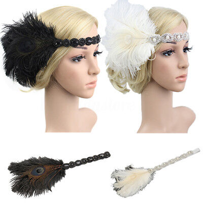 New 1920s Headband Feather 20's Bridal Great Gatsby Flapper Gangster - 1920s Gangsters