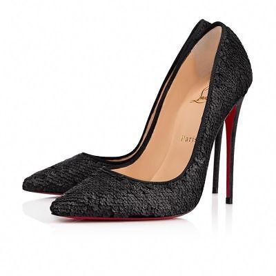 NIB Christian Louboutin So Kate 120 Black Paillete Charbon Sequin Heel Pump 36.5