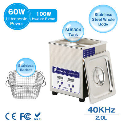 Skymen Digital 2l Ultrasonic Cleaner Bath Jewelry Dental Metal Parts Timed Heat