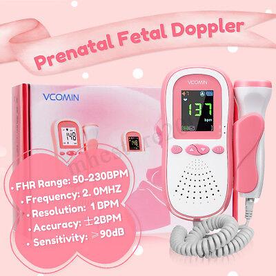Pocket Digital Prenatal Fetal Doppler Baby Heart Rate Monitor Detector Home 2mhz