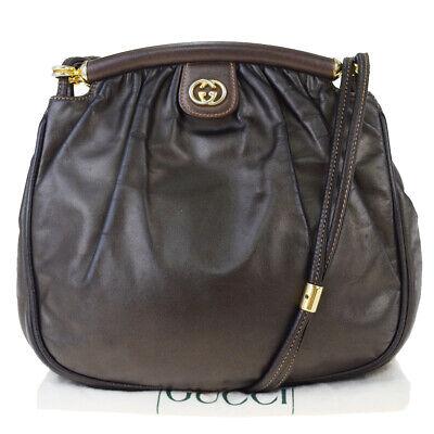 Authentic GUCCI GG Logo Shoulder Bag Leather Metallic Khaki Italy 66EW771