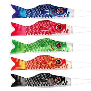 Muticolor japanese koinobori carp wind sock anime fish for Japanese koi windsock