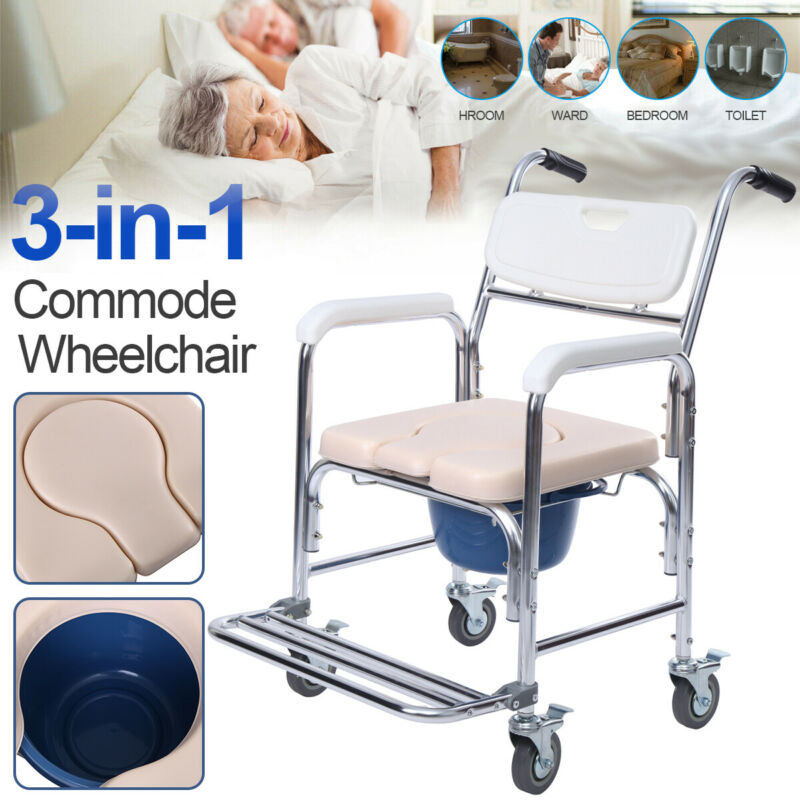 Commode Wheelchair Toilet Shower Seat Potty Bathroom Rolling