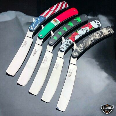 Shaving Straight Edge Razor Steel Folding Pocket Knife Barber Beard Cut - Straight Edge Knives Knife