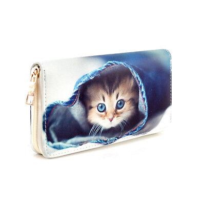 Geldbörse Katze, Reißverschluss, Damen / Kinder Portemonnaie, Brieftasche