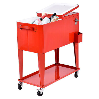 Patio Deck Cooler Rolling Outdoor 80 Quart Solid Steel Construction Party Home ()