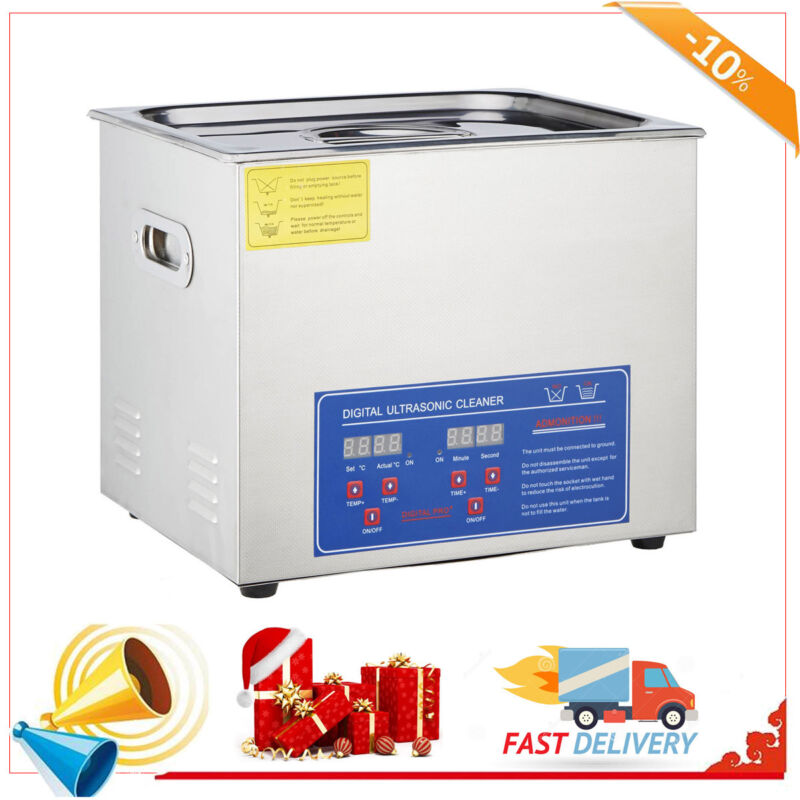 New Stainless Steel 10 L Liter Industry Heated Ultrasonic Cl