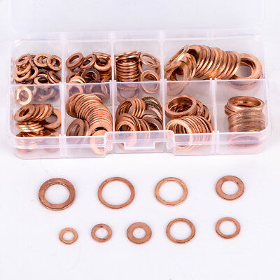 200pcs M5-m14 Copper Washer Gasket Set Flat Ring Seal Assortment Kit With Box Cs