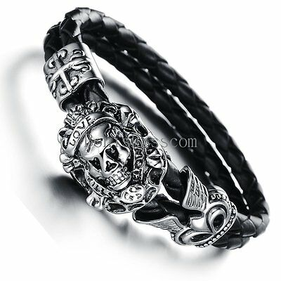 Stainless Steel Vintage Cross Skull Braided Leather Mens Bracelet Halloween Gift
