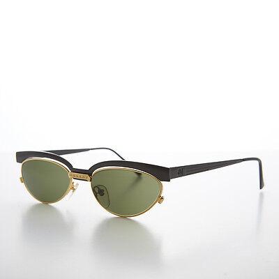 Gold und Schwarz 90s Jahre Schwimmend Linse Cat Eye Vintage Sonnenbrille - Trina