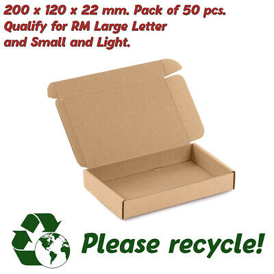 50 x Royal Mail Large Letter Postal Cardboard Box 200 x 120 x 22 mm PIP Recycle
