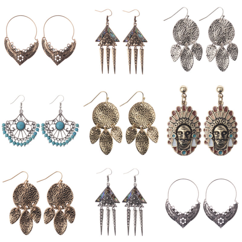 Women Vintage Bohemian Boho Charm Alloy Carved Flowers Punk Dangle Earrings Gift