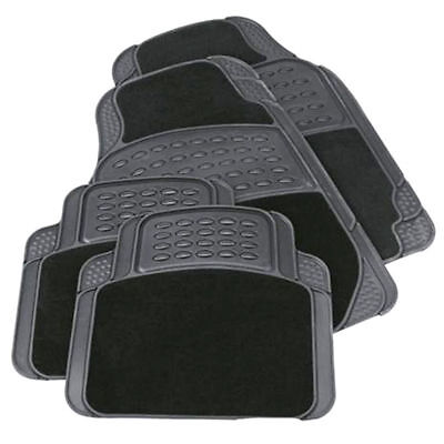 Car Parts - 4PC HEAVY DUTY UNIVERSAL BLACK CARPET & RUBBER CAR MAT SET NON SLIP VAN MATS