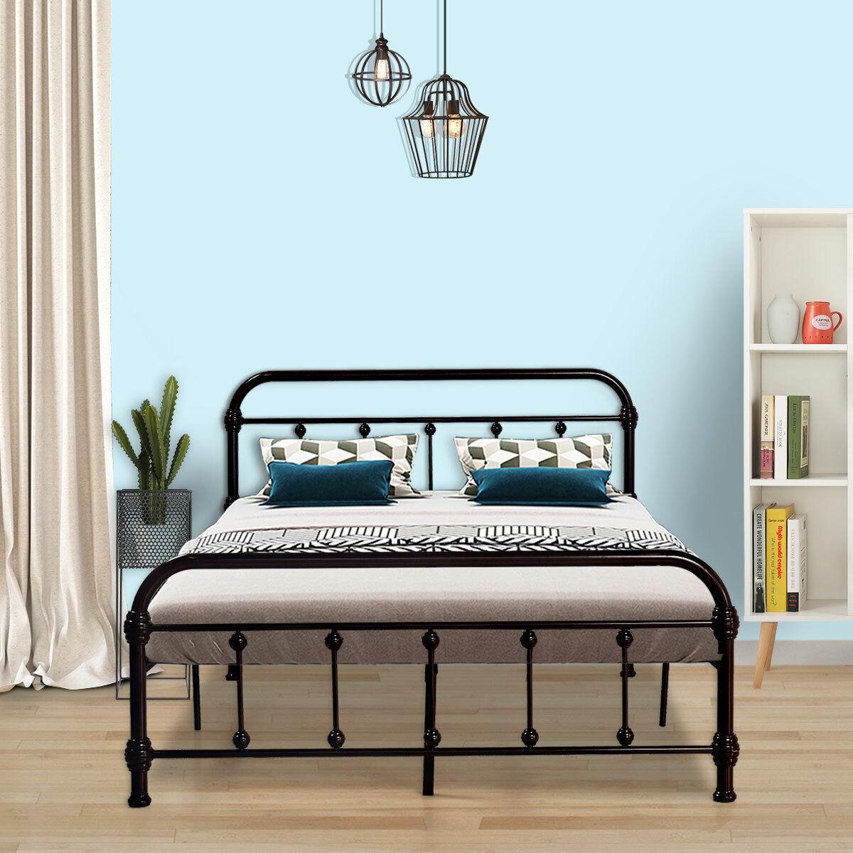 Full Size Metal Bed Frame Foundation Platform with Headboard