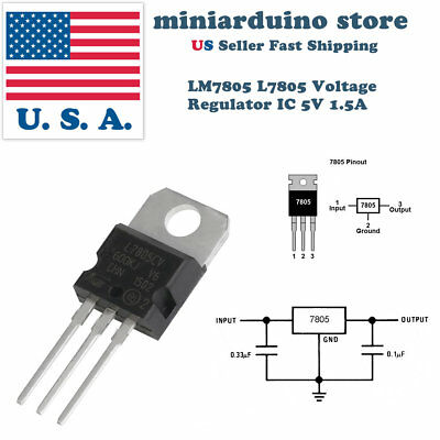 10 X Lm7805 L7805 7805 Ic Positive Voltage Regulator 5v 1.5a To-220 Usa