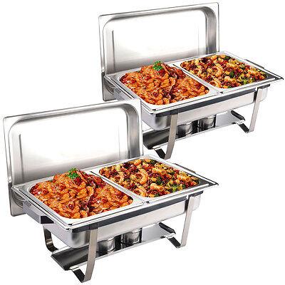 Goplus 2er Chafing Dish Speisewärmer Warmhaltebehälter Warmhaltegerät 4 Behälte