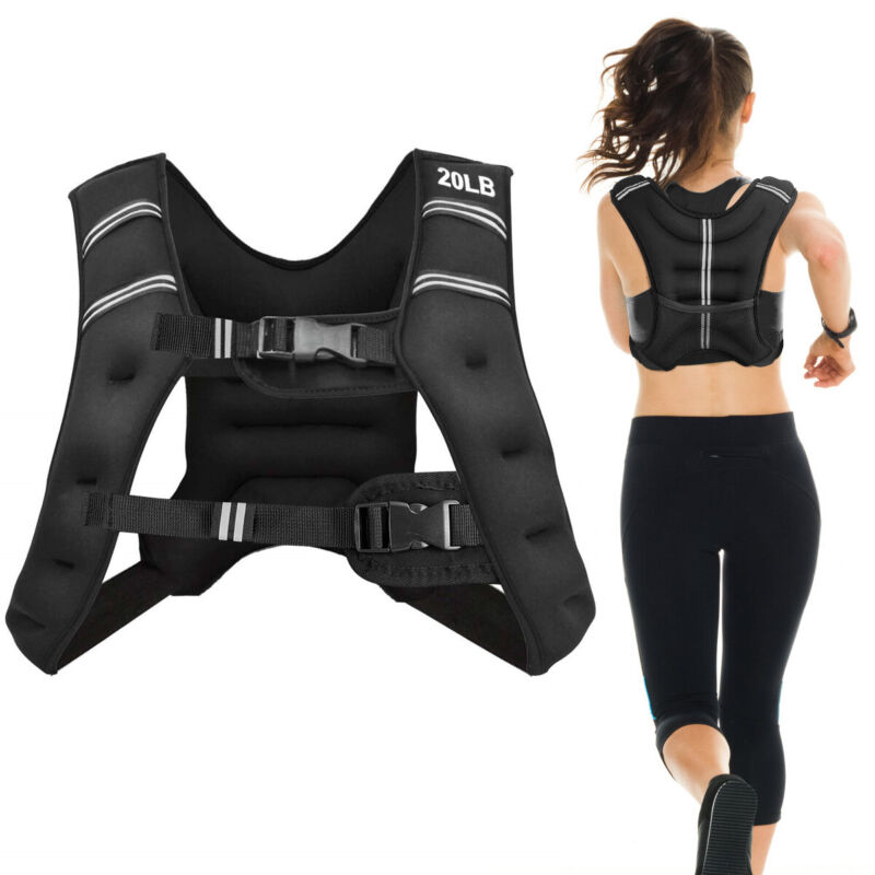 20LBS Workout Weighted Vest w/Bag Adjustable Buckle Sports Fitness Exercise