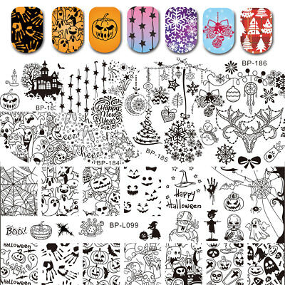 BORN PRETTY Nail Stamping Stamp Plates Set Halloween Festival Xmas Theme Tools