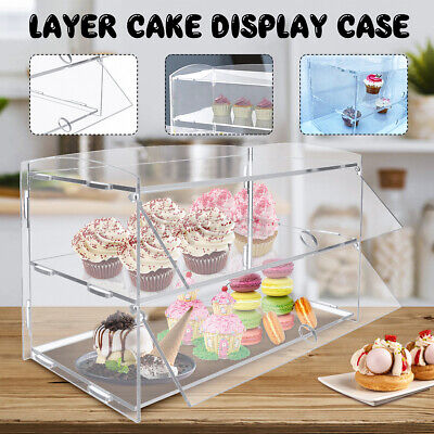 2 Tiers Cakes Display Acrylic Bakery Pastry Case Cabinet Donuts Cupcakes Stand
