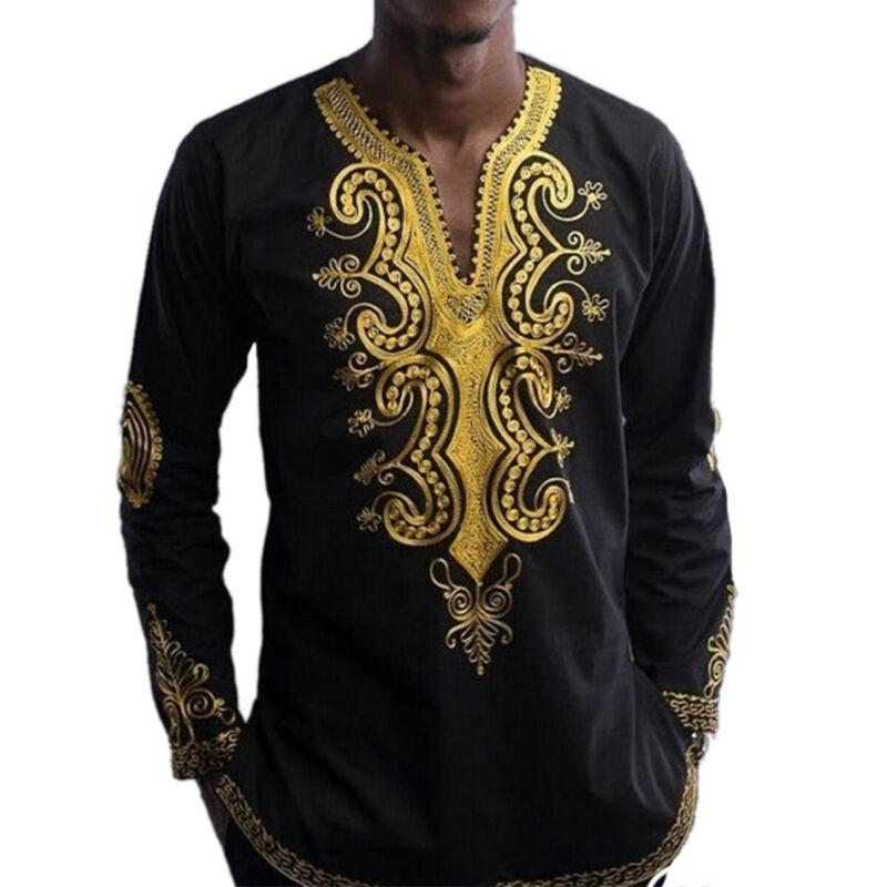Mens African Print Long Sleeve Dashiki Shirt V-Neck Tops Blouse Festive T-Shirts