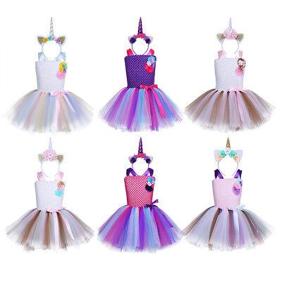 Einhorn Mädchen Kostüm Outfits Kleid und Haarreif Tütü mit Horn Kinder Unicorn