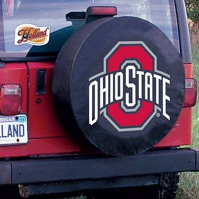 (Ohio State University Tire Cover with Buckeyes Logo on Black Vinyl)