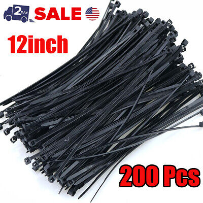 200 Pcs. 12in Cable Zip Ties Nylon 40lbs Uv Weather Resistant Wire Cable Black