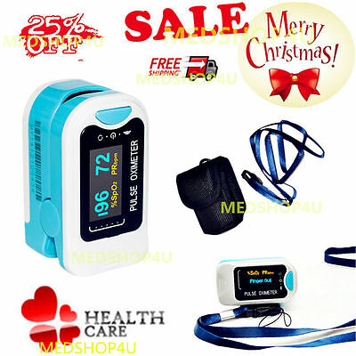 US Finger Fingertip Blood Oxygen Meter SPO2 OLED Pulse Heart Rate Monitor,Pouch.