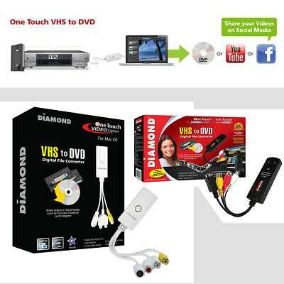 VHS Cassette Adapter Digital Converter to DVD Video Device USB 2.0, Mac Windows