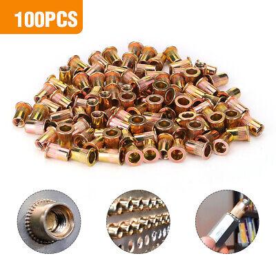 100 Pcs 14-20 Unc Carbon Steel Rivet Nut Flat Head Threaded Insert Nutsert