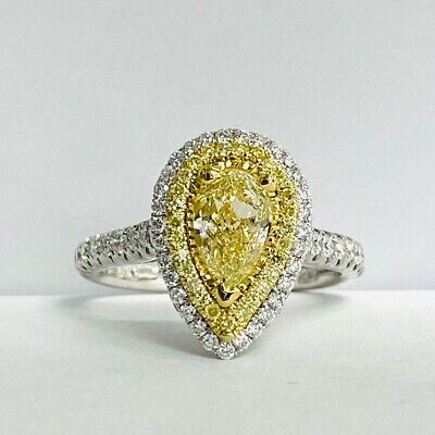 GIA Certified 1.69 Ct Pear Cut Yellow Diamond Engagement Ring 18k White Gold