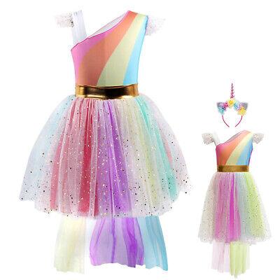 Girl Unicorn Costume Birthday Party Cosplay Halloween Fancy Dress Up Photo Props
