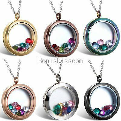 Stainless Steel Round Floating Charm Locket Living Memory Pendant Necklace - Floating Charm Locket Necklace