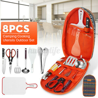 8pcs Camping Cooking Utensils Outdoor Set Kitchen Cookware Gear + Storage Bag