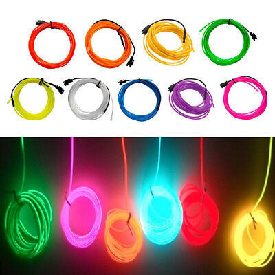 LED Flexible Neon Light Glow EL Wire String Strip Rope Car Dance Party Decor - Neon Dance Decorations