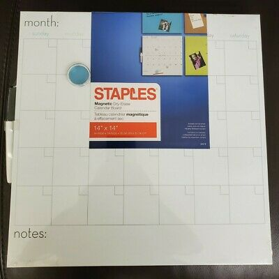 Staples Magnetic Calendar Dry Erase Whiteboard 14 X 14 1-month
