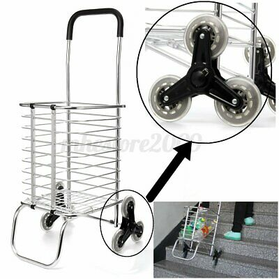 Folding Shopping Cart Jumbo Basket Grocery Utility Laundry Travel With 6 Stair