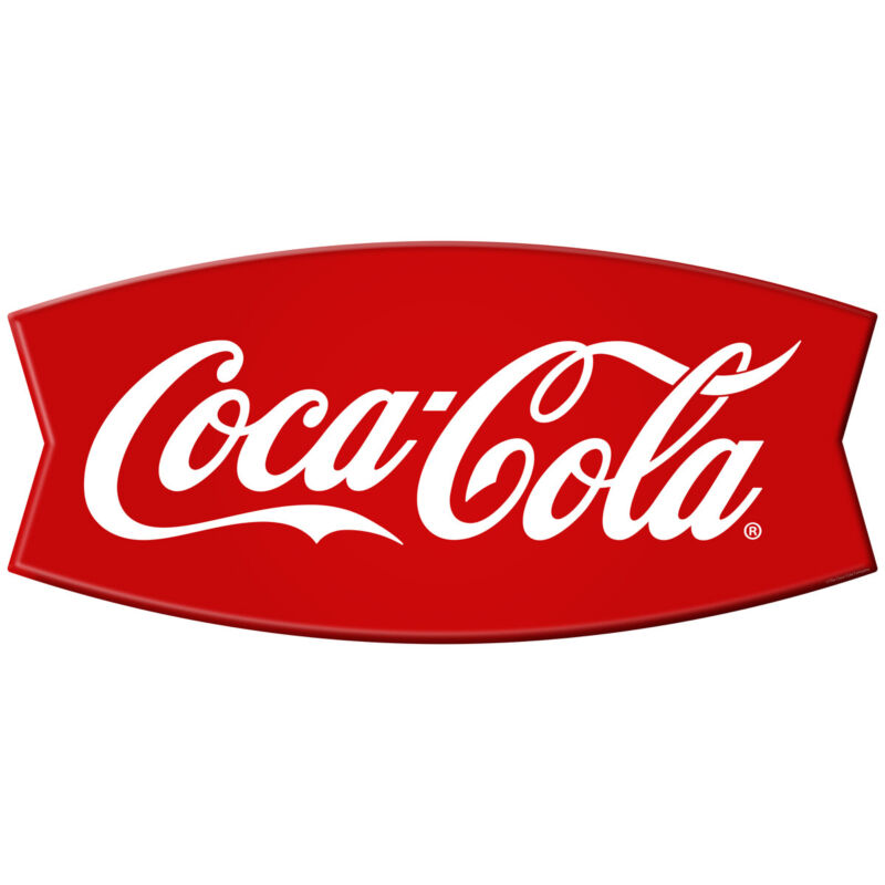 Coca-Cola Fishtail Wall Decal Embossed Look Vintage Style Kitchen 24 x 11