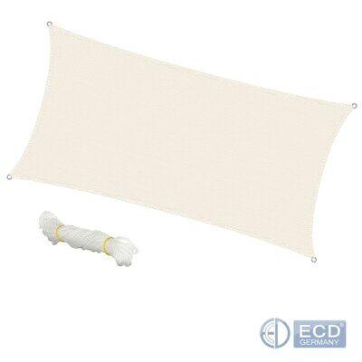 Sonnensegel Sonnenschutz Schattensegel Schattenspender 2x4 m Creme 100% HDPE