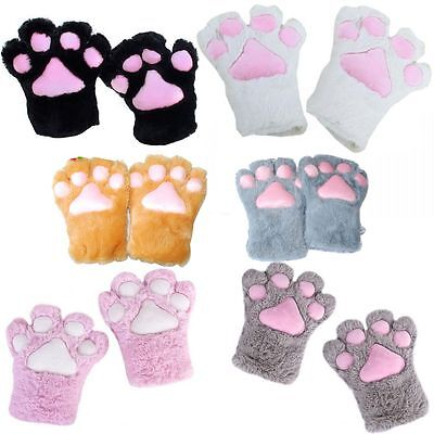 Party Halloween Plush Cat Kitten Paw Gloves Cosplay Costume](Halloween Kitten Costumes)