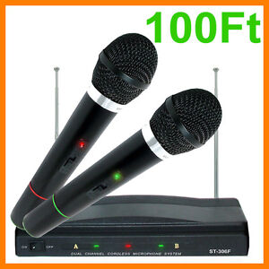 Pro Dual Wireless Cordless DJ Karaoke Public Address PA Mic Microphone System