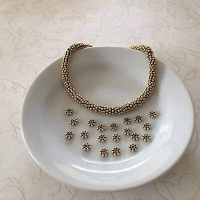 - 20 Gold Vermeil Antiqued 4.5mm Daisy Spacer Beads Bali Style Bead (bsbG02-20