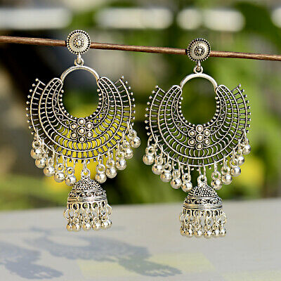 - Fashion Jewelry Indian Oxidized Colored Bead Jhumka Silver Bohemia Gift Earrings