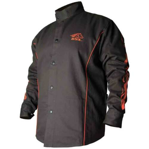 Black Stallion BX9C-L. Contoured FR Cotton Welding Jacket, LARGE SIZE