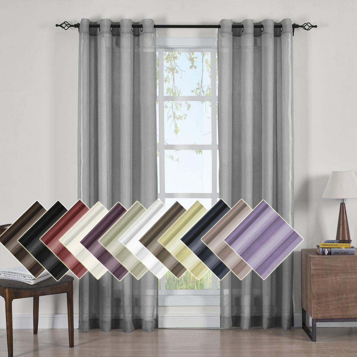 Set of 2 Abri Grommet Crushed Sheer Solid Window Curtain Pan