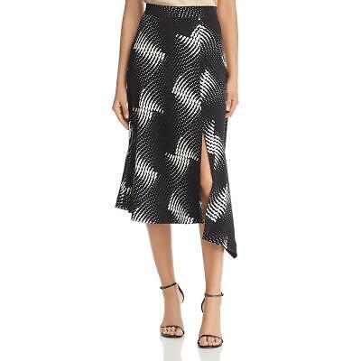 Kenneth Cole Womens Printed Handkerchief Hem Side Slit Midi Skirt BHFO 5066