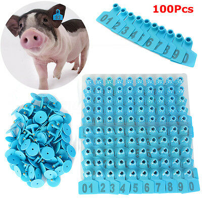 01 100 Blue Number Plastic Livestock Ear Tags Animal Tag For Goat Sheep Pigs