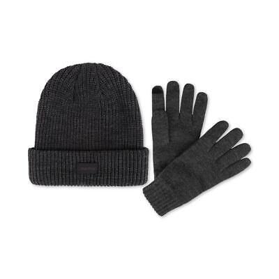 Calvin Klein Mens Gray Beanie Cold Weather Winter Hat & Glov